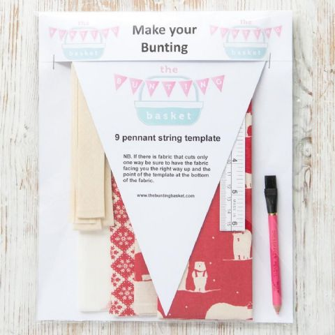 Make Your Own Cotton Bunting Kits - featuring red scandi polar bears